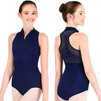 Adult Power Mesh Zip Front Tank Leotard