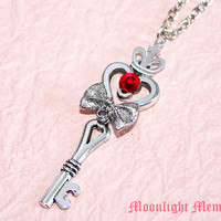 Sailor Moon Necklace - Inspired by Sailor Moon Spiral Heart Moon Rod - Silver handmade Crown Heart Key Sailor Moon Necklace Jewelry Gift