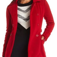 Double Breasted Fleece Pea Coat by Charlotte Russe - Dark Red