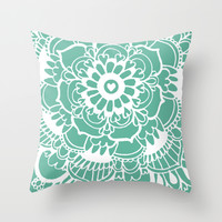 Teal Lacework Doodle Throw Pillow by Tangerine-Tane