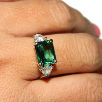 Emerald Ring, Cocktail Ring, Three Stone Ring, Emerald and Sapphire, Size 7, Sterling Silver