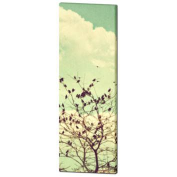 Bird Canvas - Home Decor - Tall Canvas - Vintage Style Art - Tall Canvas - Large Canvas - Mint Green - 20 x 60 Canvas - Pastel Wall Art