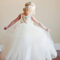 Flower girl dress with romantic tutu skirt. Fully lined. Tutu bridesmaid dress. Tulle flower girl dress
