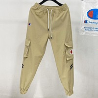 Champion New fashion embroidery logo sports leisure pants Khaki
