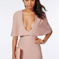 CREPE CAPE BODYCON DRESS TAUPE