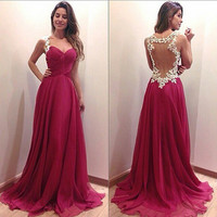 Backless V-neck Ball Gown Prom Dress = 5861452417