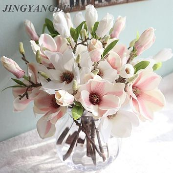 Wedding Decoration Silk Magnolia Flowers 4 Colors 1 Pcs for Wedding Bouquet Artificial Flowers for Home Decoration FREE SHIPPING