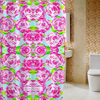 """Lilly Pulitzer Pattern Roses High Quality Shower Curtain 60"""" x 72"""""""