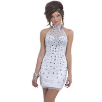Hot Sale New Cocktail Dresses Tulle High Neck Beaded Crystals Short Sheath Graduation Cocktail Gowns Dress