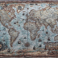 Tapestry vintage map of the world decorative painting for sitting room porch high-grade cloth art adornment picture