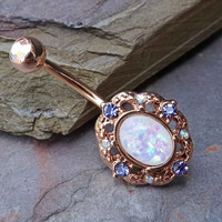 Opal Rose Gold Belly Button Rings Belly Rings