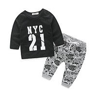 Style letter printed casual baby boy clothes