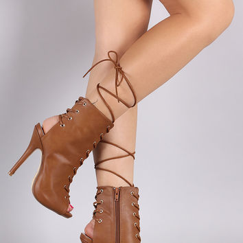 Corset Lace Up Peep Toe Stiletto Booties