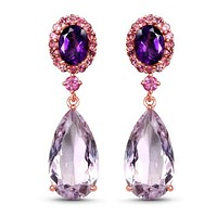 14K Rose Gold Plated 17.80 Carat Genuine Pink Amethyst, Pink Tourmaline & Amethyst .925 Sterling Silver Earrings