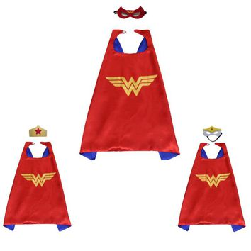 70cm children kid wonder woman cape with mask super herois superhero capes mantle cloak for girl boy