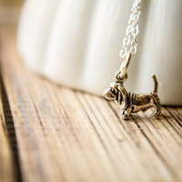 Itty Bitty Basset Hound Dog Necklace in Sterling Silver