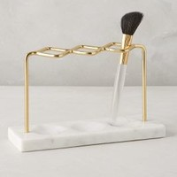 Brass Makeup Brush Holder by Anthropologie in White Size: One Size Bath