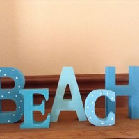 Beach Sign, Wooden Rustic Beach Home Decor, Turquoise | Aqua | Tropical Blue Cottage Decor, Summer Decor, Shabby Chic Stand-Alone Beach Sign