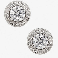 Cubic Zirconia Pave Halo Stud Earrings from EXPRESS