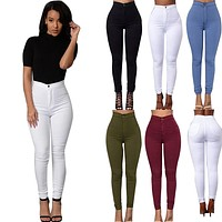 2017 Pencil Jeans for Women Solid Stretchy Casual Denim Sexy Skinny Jeans High Waist Pencil Pants Plus Size Trousers 5 Colors