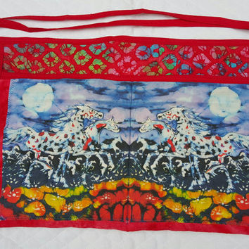 Horses in Moonlight Quilted Apron for Horse Trainers, Horse Lovers, Dog Agility - Batik Art Swatch