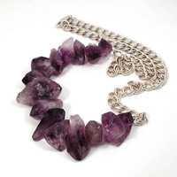 Raw Amethyst Crystal and Sterling Silver by SwankMetalsmithing