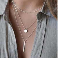 Silver Layered Bar and Disc Necklace