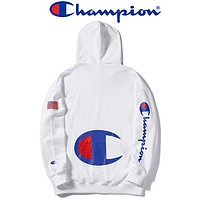 Champion New fashion letter logo print couple hooded long sleeve sweater top White