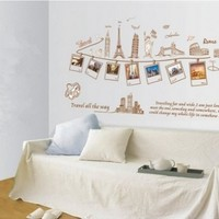 DIY Large Travel Memory Eiffel Tower photo frame Wall Sticker Decal Decor Removable Vinyl