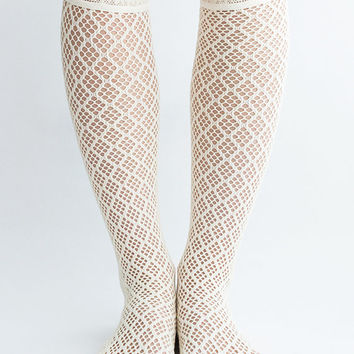 Women Lady New Hezwagarcia Cute Lovely Lace Mesh Ivory Cotton Knee Socks Tights One Size