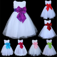 iEFiEL Kids Girls Bow Knot White Tulle Formal Dress Wedding Flower Pageant Party Dress