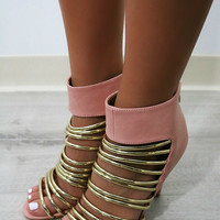 Art Gala Strappy Gold & Pink Zip-Up Heels