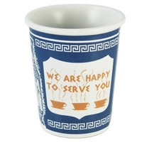 """Exceptionlab Inc. 10-Ounce Ceramic Cup """"We are happy to serve you"""""""