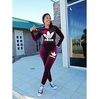 Adidas Winter Women Casual Embroidery Pleuche Top Pants Set Two-Piece Sportswear Burgundy
