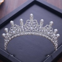 Tiaras And Crowns Luxury CZ Pearl Princess Pageant Engagement Wedding Cosplay Hair Accessories