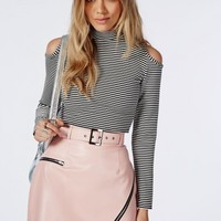 Missguided - Turtle Neck Cut Out Shoulder Striped Crop Top White