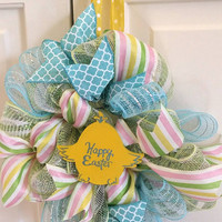 Easter Wreath Happy Easter Decor Spring Easter Wreath Easter Yellow Chick Decoration Pink Spring Wreath Small Easter Wreath Spring Decor