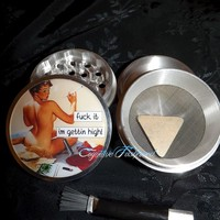 Pin Up Fuck It Im Gettin High 4 Piece Herb Grinder Pollen Screen and Catcher