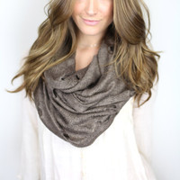 brown chunky infinity scarf, vintage loop, taupe soft loop scarf, chunky knit infinity scarf, destroyed scarf, edgy scarf