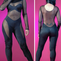 Black Long Sleeve Mesh Cut-Out Jumpsuit