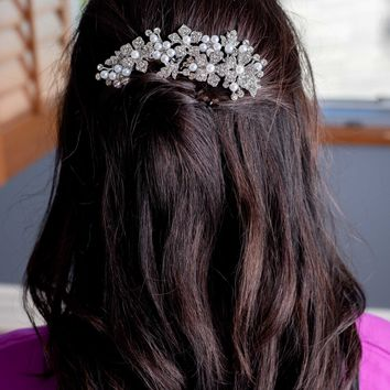 Silver Floral Leaf Bridal Hair Comb