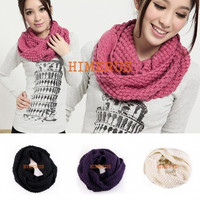 New Women Winter Warm Infinity 2 Circle Cable Knit Cowl Neck Long Scarf Shawl = 1958301188