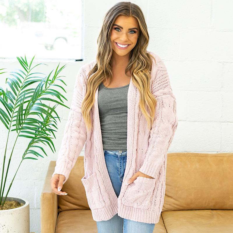 Image of Isabel Open Knit Cardigan - Pink