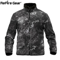 ReFire Gear Camouflage Reversible Military Fleece Jacket Men Winter Thermal Polar Army Tactical Jacket Double Side Use Warm Coat