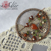 Copper brooch with flowering branch, round brooch pin with carnelian and peridot, orange flowers brooch