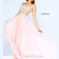 Strapless Bandeau Neckline Formal Prom Gown By Sherri Hill 8549