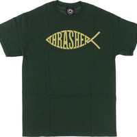 Thrasher Fish Tee  Large Forest/Gold