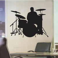 Drummer Decal Sticker Wall Mural Drumset Drum Drums by DabbleDown