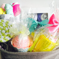Color Filled Baby Basket, Baby Shower Gift Basket, Receiving Blankets and Onesuit Cupcakes