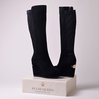 Genuine leather boots women designer shoes high boots women's winter shoes outdoor wedges platform shoes